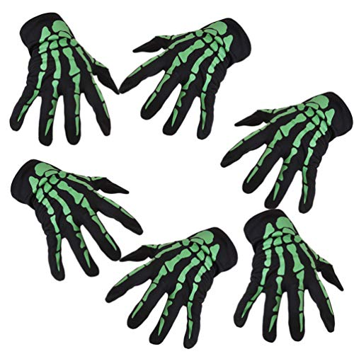 Skelett Kostüm Muster Für - Amosfun 3 Paar Skelett Handschuhe Halloween Kostüm Handschuhe Unisex Finger Skelett Muster Handschuhe Schädel Knochen Handschuhe elastische Finger Handschuh Leistung Mithelfer