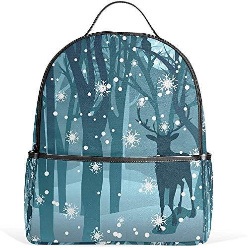 Deer Forest Snowflake Night Mochilas Escolares para niños Niñas Mochila BPK-613