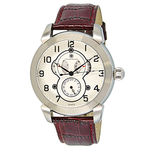 Constantin Durmont Gents Watch Quartz Analogue XL Leather Circle Cd-Cirl-Qz-Lt-WH-Stst