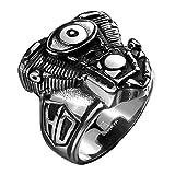 iSchmuck anello da uomo in acciaio inox Band argento nero motore Moto Biker conducente e Acciaio inossidabile, 65 (20.7), cod. IS20170336