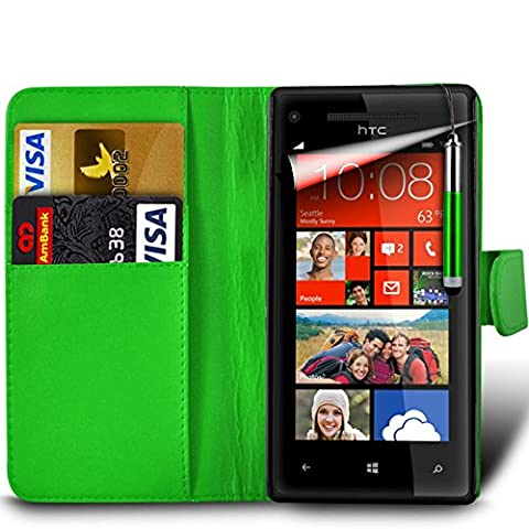 Samsung Galaxy A7 2nd Gen / SM-A717 (2016) Premium PU Leather Wallet Flip Skin Case Cover in GREEN with RETRACTABLE Capacitive Stylus Touch Screen Pen