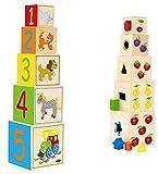 Unbekannt 2 in 1: Steckspiel u. Stapelwürfel aus Holz - Formen / Farben / Zählen lernen - Würfel - Motorikspiel Steckwürfel - Motorik - Steckpuzzle - geometrische Forme..