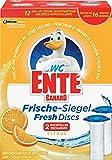 Original WC Ente Nachfüller für WC Ente Frische Siegel Spendergriff, Für Frische und Sauberkeit bis zu 16 Wochen, Citrus-Duft, 2 x 36 ml, Frische Siegel