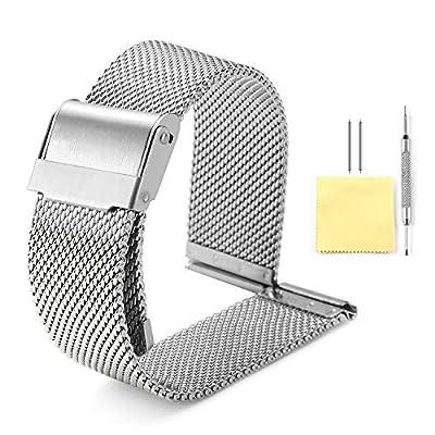 Correa de reloj de malla milanesa BINLUN, 4 colores (dorado, plateado, negro, oro rosa) 7 tallas (10 mm, 12 mm, 14 mm, 16 mm, 18 mm, 20 mm, 22 mm)