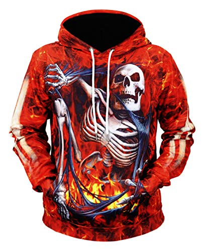 Pizoff Unisex Hip-Hop 3D Druck Kapuzenpullover Halloween Weihnachten Skelett und Feuer ()