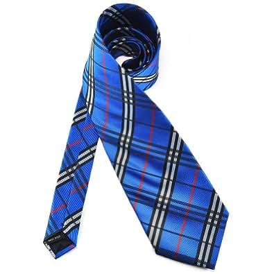 Pensee cravate pour homme 100%  Jacquard tissé Noir/rouge/bleu/gris/blanc-& & Cravate Motif à carreaux écossais