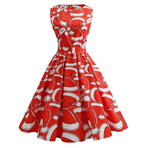OverDose Frauen Vintage Ärmellos Weihnachten Party kleid Santa Claus Print A-Line Swing Kleid Weihnachtskostüm Strand Kleid(L,A-Rot)