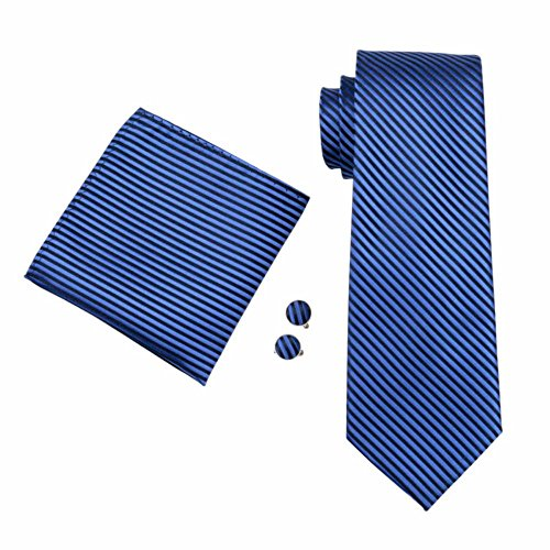 Blau Dunkelblau Streifen einfarbig gestreift Seide Krawatte Set Binder Schlips Hochzeit Einstecktuch Manschettenknöpfe Krawattenset (Dunkelblau (432))