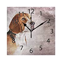 XiangHeFu Wall Clock,Square 8x8 Inches Silent Cute Animal Beagle Dog Vintage Pattern Decorative for Home Office School