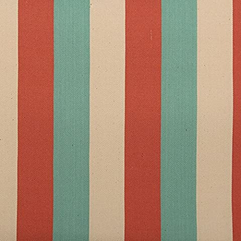 Ivory Duck Egg Coral Vintage Deck Chair Canvas Striped Fabric