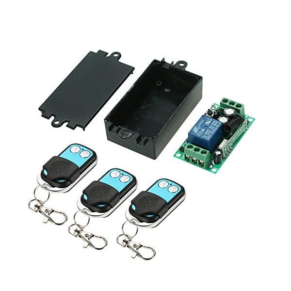 4 mandos radio de 50 m interruptor//rel/é inal/ámbrico con mando a distancia transmisor Casa Inteligente 433/MHz RF DC 12/V 2/CH C/ódigo de aprendizaje receptor universal Owsoo
