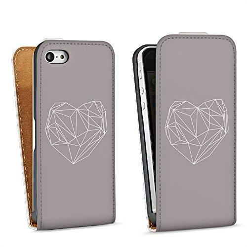 Apple iPhone 5s Housse Étui Protection Coque C½ur Amour Amour Sac Downflip blanc