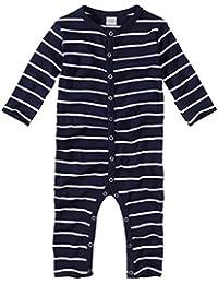 wellyou, Schlafanzug, Pyjama für Jungen und Mädchen, Einteiler langarm, Baby Kinder, marine-blau weiß gestreift, geringelt, Feinripp 100% Baumwolle, Größe 56-134