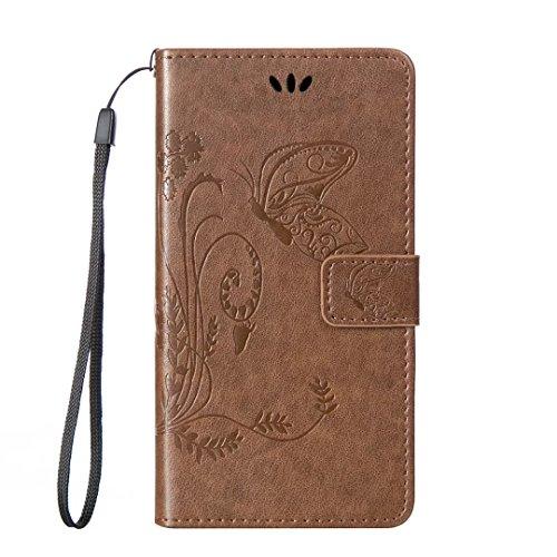 zl one Telefono Caso per Samsung Galaxy J1 Ace J110 Bookstyle Farfalla Modello Flip Cover Custodia in Pelle PU Tasche Carte di Credito Funzione?Marrone Chiaro?