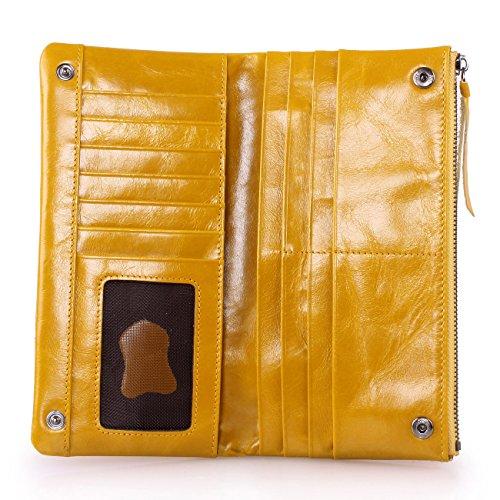 Yvonnelee Donne Della Signora Frizione Lungo Della Borse Borsa cuoio genuino Della Carta Portafoglio Leather Titolare Portamonete Giallo