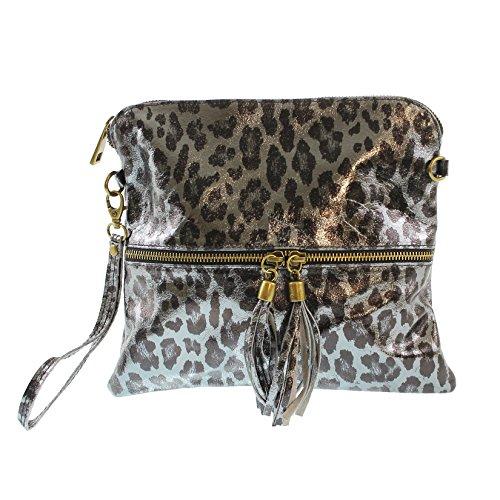 CTM L'embrayage de la femme, petit sac à main dans le style de Animalier avec bandoulière, sac en cuir véritable italien fabriqué en Italie 25x23.5x2 Cm