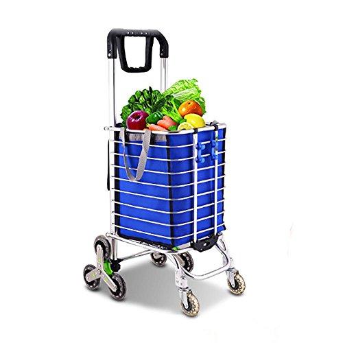 HCC& Wagenwagen Die Treppe heraufsteigen Zusammenklappbar Tragbar Einkaufswagen Hohe Kapazität Lebensmittel Auto Rollende Schwenkräder (Bibliothek Korb)