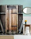 HROOME Duschvorhang Anti Schimmel Wasserdicht Langes Leben Zaun Holz Tür Moderner Stil Duschvorhang Textil Mit haken 180X180 200x180 (150X180cm, Tür-1)
