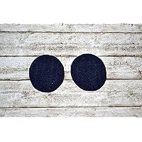 Aufnäher aus Bio-Baumwolle, Flicken, ca. 4,5 x 6 cm, Applikation, Knieflicken, Patch zum Aufbügeln, Baby, Kind, Mädchen, Junge, dunkelblau Jeans