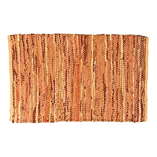 Asian Treasures Leather Chindi Rug 2x3 Feet - Hand Woven & Hand Stitched - Strips of Genuine Leather are Woven by Hand to get This Attractive Artisan Look - Fully Reversible (Tan/Brown 1006)