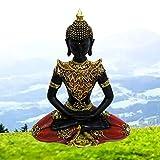 RESINA Buda Nagpur/Figura Buda de Suerte Sentado (Red&Black)