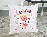 Kissen mit Namen, Geschenk zur Geburt, Babygeschenk für Mädchen, Jungen, mit Geburtsdaten (Namen & Datum) personalisiert, Geburtskissen, originelles Namensgeschenk für Baby (Flamingo, Pink)