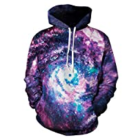 CAMLAKEE Unisex 3D Hoodie Long Sleeve Galaxy Print Mens Womens Novelty Sweatshirt with Pockets Galaxy 3 S/M
