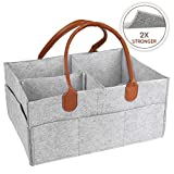 Baby Diaper Nappy Caddy Storage Organiser for Beside Nursery Changing Tables Odor-Free Eco Felt Newborn Boys & Girls Essentials Must Haves Shower Gifts Basket - Large Portable Car Travel Organiser