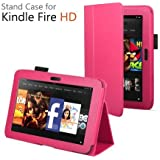 CaseGuru Leather Case Cover and Flip Stand Wallet with Capacitive Stylus Pen for Amazon Kindle Fire HD 2012 - Hot Pink