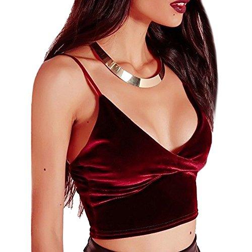 Sling Crop Top,Tukistore Frauen Spaghetti Strap Samt V-Ausschnitt BH Triangel Bralette BH Unterhemd Sexy Bustier Crop Top BH Backless