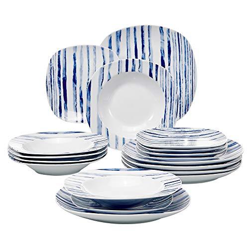 VEWEET Joyce Juegos de Vajillas 18 Piezas de Porcelana con 6 Platos, 6 Platos Hondos y 6 Platos de Postre para 6 Personas