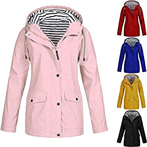 Deloito Damen Regenjacke Wasserdicht Einfarbig Windbreaker Kapuzen Mantel Draussen Sportbekleidung Winddicht Sonnencreme Regenmantel