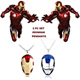 2 PC AVENGERS SET - IRONMAN FACE (RED & BLUE) TRENDY IMPORTED METAL PENDANTS WITH CHAIN. LADY HAWK DESIGNER SERIES 2018. ❤ LATEST ARRIVALS - RINGS & T SHIRT - CAPTAIN AMERICA - AVENGERS - MARVEL - SHIELD - IRONMAN - HULK - THOR - X MEN - DC