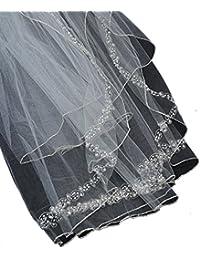 Somptueux voile de mariéee en tulle à 2 épaisseurs avec bordure, parsemé de fausses perles et de billes. Produit offert par NYfashion101.