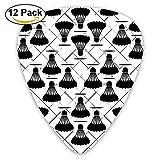 Badminton Black Classic Guitar Picks (12 Pack) Gifts for Men Women Teens Kids