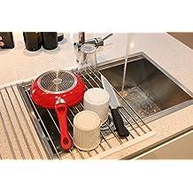 Scolapiatti avvolgibile Copa Design per il lavello, in acciaio inox - multiuso - scolastoviglie pieghevole per vasca