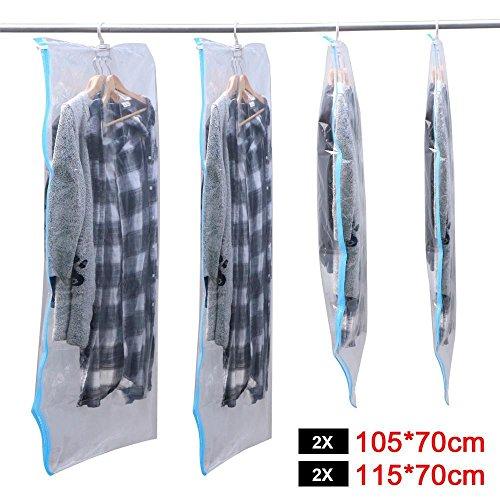 Yahee 4 x Vakuumbeutel mit Kleiderhaken Vakuum Kleiderbeutel hängend Aufbewahrungsbeutel 2 Größe 105 x 70 cm + 115 x 70 cm