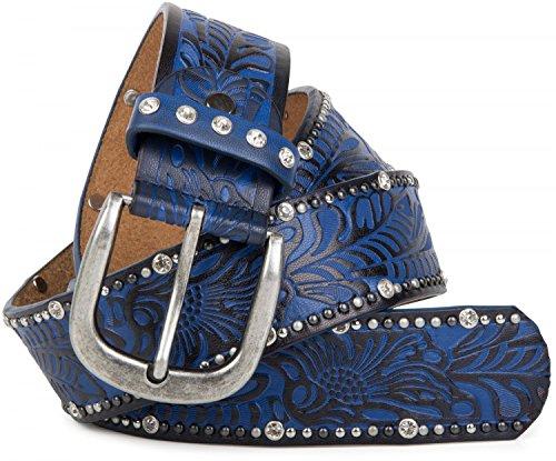 styleBREAKER Vintage Gürtel mit Ornament Prägung, Nieten und Strass, kürzbar, Damen 03010056, Farbe:Blau;Größe:90cm