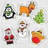 Radiergummis mit Weihnachtsmotiven für Kinder als kleine Überraschung zum Fest (12 Stück)