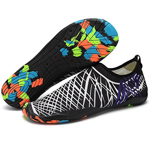 JACKSHIBO Erwachsene Barfuß Schuhe Weich Wassersport Schuhe Damen Schwimmschuhe Surfschuhe Badeschuhe Weiß
