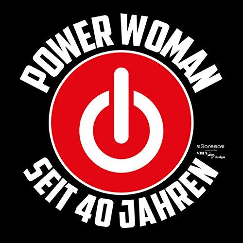 Damen Girlie T-Shirt Geschenk zum 40 Geburtstag für Frauen :-: witzige Geschenkidee :-: Power Woman seit 40 Jahren :-: Geburtstagsgeschenk Powergirl und Urkunde Farbe: schwarz Schwarz