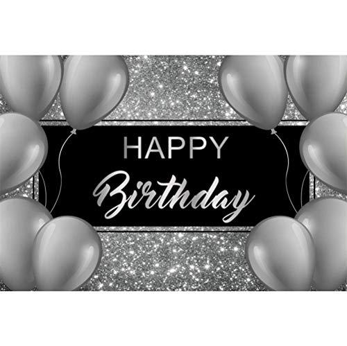 EdCott 5x3ft Happy Birthday Vinyl Fotografie Hintergrund Grau Luftballons Dekore Silber Glitzernde Kulissen Kind Kinder Baby Erwachsene Geburtstagsfeier Banner Kuchen Smash Studio Foto Requisiten