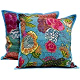 2 Blue Indian Handmade Pillowcase Kantha Floral Throw Pillow Cushion Cover