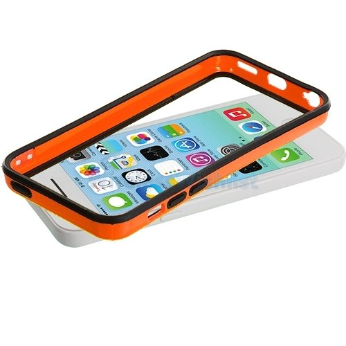 G4GADGET® Iphone 4S/4 Silicon Bumper White/Green 5COrange/Black