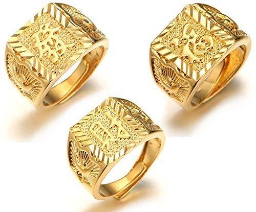egne Alle ● Männlich 18K Gold überzogen Kanji Ring Reich+Glück+Reichtum Set Größe verstellbar mit KOSTENLOSER Geschenkpackung ()