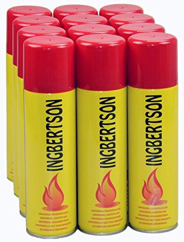 12 x 250 ml Ingbertson Feuerzeuggas Butan-Propan-Gemisch für Mehrwegfeuerzeuge -