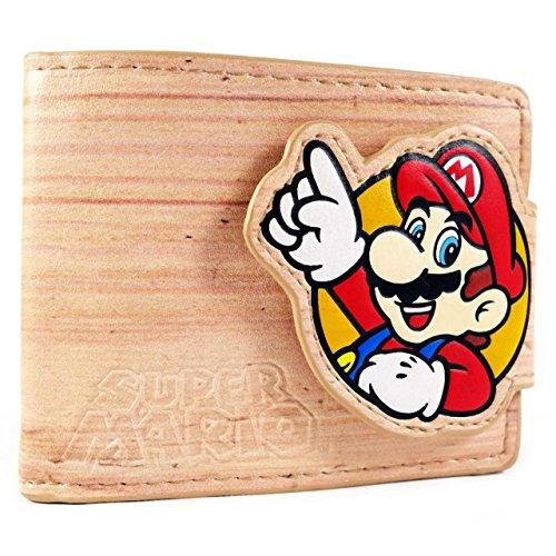 Cartera de Nintendo Super Mario and Luigi Efecto de madera marrón