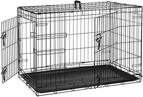 AmazonBasics - Gabbia in metallo pieghevole per cani, Portiera Doppia - Medio
