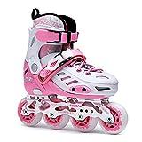 W-zplhx Rollers Taille Réglable Patins À Roues Alignées Enfants Freestyle Rollerblades Filles Et Garçons Les Sports Rollers en Ligne (Color : Pink, Size : L-EU(35-38))