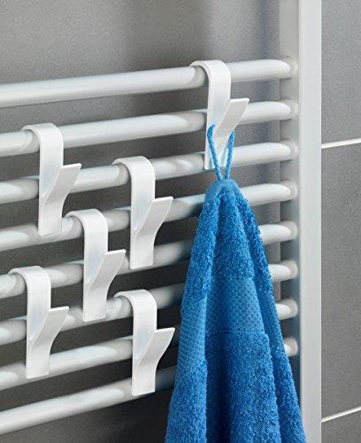 Rundheizkörper Haken weiß 6 Stück Handtuchhaken Handtuchhalter